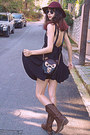 Black-owl-bag-brown-cowboy-boots-black-romwe-dress-maroon-h-m-hat