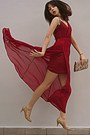 Ruby-red-stradivarius-dress-floral-bag-camel-steve-madden-heels