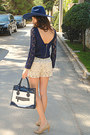 Ivory-floral-jacket-navy-lace-zara-dress-navy-zara-hat-navy-bag
