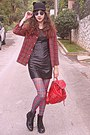 Black-leather-dress-black-ears-romwe-hat-red-plaid-choies-shirt