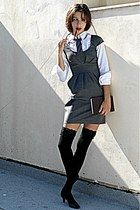 navy tie - heather gray Stradivarius dress - black knee high socks