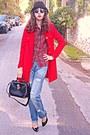 Red-tartan-choies-shirt-red-vj-style-coat-sky-blue-diy-jeans