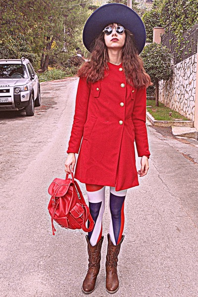 red VJ Style coat - brown cowboy boots - navy Zara hat