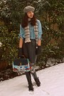 Sky-blue-chicwish-bag-heather-gray-beret-tommy-hilfiger-hat