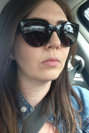 blue Gap jacket - black Chanel sunglasses