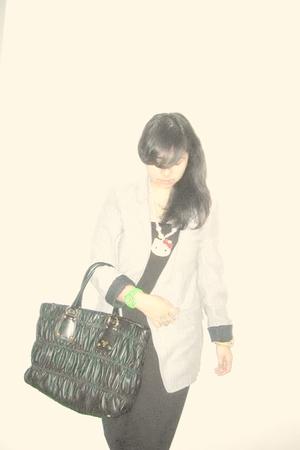 black top - gray Zara blazer - white mi-casa-su-casa necklace - black Prada acce