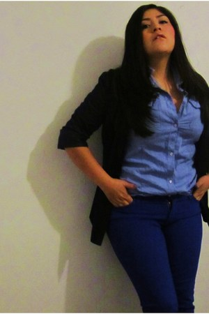blue denim Forever 21 pants - navy silk Forever 21 blazer