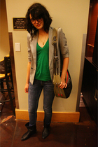 James Michael blazer - American Apparel t-shirt - Levis jeans - boots - purse