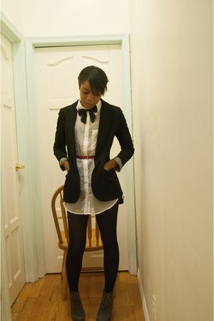 black Primark blazer - white H&M blouse - red Target belt - gray Dope shoes - bl