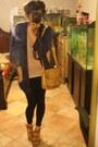 Target-leggings-thrift-bag-blue-cardigan-forever-21-cardigan