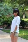 Olive-green-forever-21-shorts-brown-vintage-sunglasses-silver-top