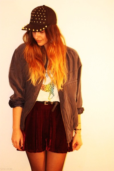 velvet OASAP skirt - spiked asos hat - vintage jacket - rainbow pony H&M t-shirt