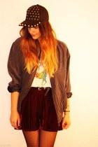 velvet OASAP skirt - spiked asos hat - vintage jacket - rainbow pony H&M t-shirt