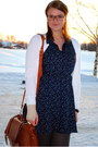 Navy-stars-h-m-trend-dress-brown-leather-purse-white-cardigan