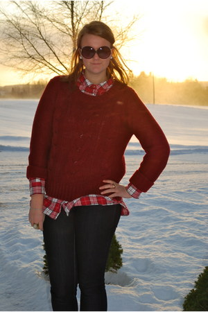 brick red sweater - navy jeans - ruby red shirt - black sunglasses