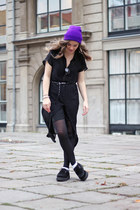 purple wool Ebay hat - black creeprs Underground shoes - black sheer Monki dress