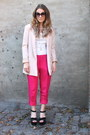 Light-pink-fitted-h-m-blazer-cream-lace-sleeves-h-m-shirt