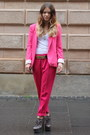 Hot-pink-fitted-zara-blazer-hot-pink-loose-zara-pants-white-cotton-only-top