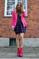 purple mesh Monki dress - hot pink cotton Zara blazer - hot pink suede Topshop h