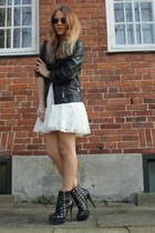 white lace dress GINA TRICOT dress - black leather biker H&M jacket - white tran