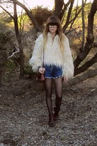 thrifted boots - faux fur new look jacket - wild hearts vintage shorts