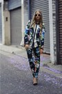 Dark-green-floral-print-h-m-blazer-white-from-japan-bag