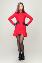 red storets dress - black storets boots - storets gloves