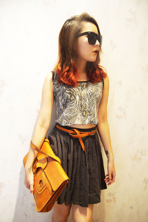 cropped no brand top - vintage no brand bag - full no brand skirt