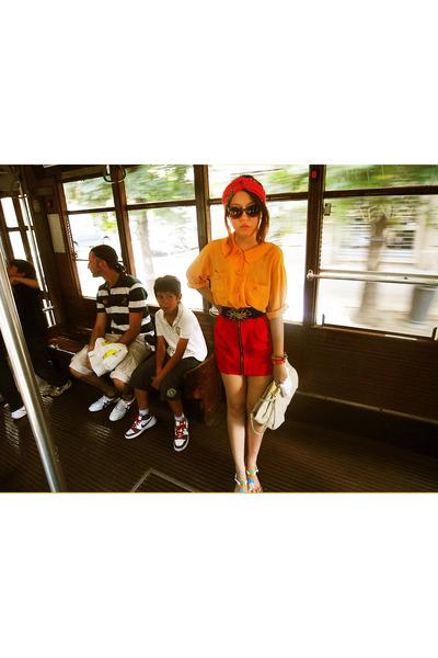 carrot orange blouse - red skirt