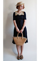 vintage dress - 1950s straw hat vintage hat - vintage bag - vintage flats