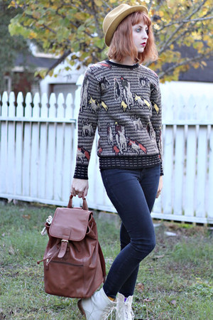 light brown thrifted vintage sweater - beige Urban Outfitters boots