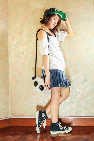 black eazy fashion hat - white eazy fashion bag - white DIY top