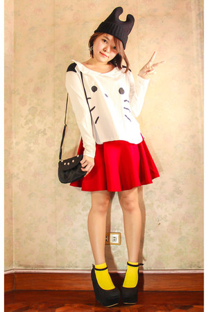 black eazy fashion hat - yellow Esprit socks - red Bubbles skirt