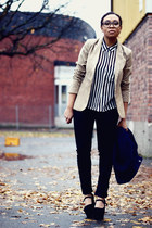 black whyred jeans - tan Stradivarius blazer - white GINA TRICOT blouse
