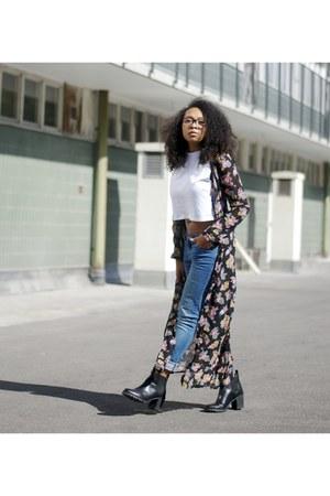 black Monki boots - navy Cubus jeans - salmon Yoyomelody jacket