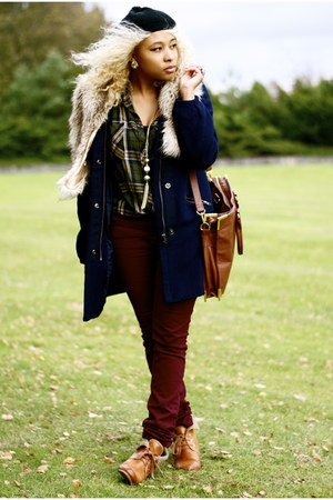 tawny H&M shoes - navy H&M coat - crimson lindex jeans - black H&M hat