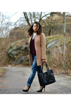 bronze H&M coat - navy GINA TRICOT jeans - black Nelly heels