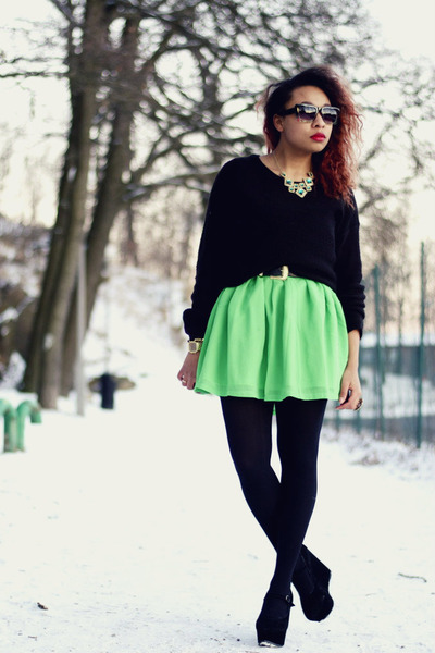 green Nellycom dress - black H&M sweater - black Nellycom wedges
