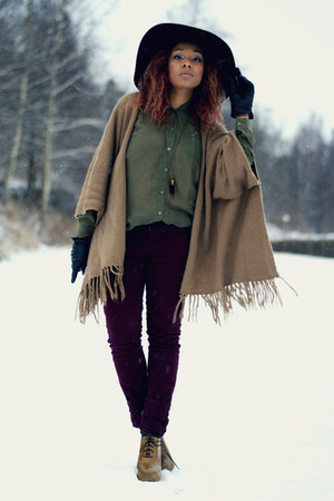 camel poncho asoscom cardigan - crimson lindex pants - olive green H&amp;M blouse