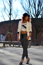 white OASAP top - black GINA TRICOT hat - off white H&M blazer
