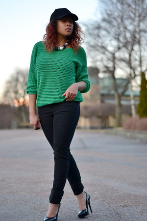 black GinaTricot jeans - black Cubus hat - green carlings jumper