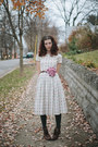 Dark-brown-ankle-granny-borne-boots-ivory-adored-vintage-dress
