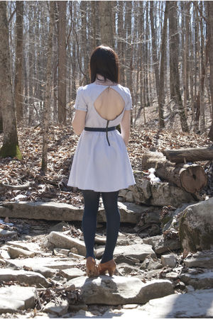 brown shoes - blue Urban Outfitters dress - blue stockings