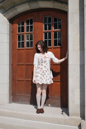 tracy fieth dress - sweater - stockings - purse - shoes