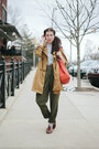 Camel-trench-jacket-sky-blue-sweater-sweater-army-green-pants-pants