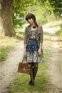 Blue-modcloth-dress-brown-vintage-blazer-black-stockings-brown-bag-black