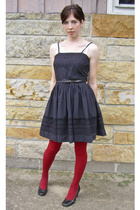 black vintage dress - black shoes - red tights