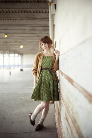 burnt orange romwe cardigan - olive green dress - dark brown oxfords flats