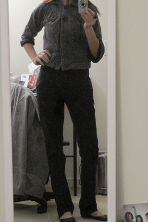 gray friend didnt want it jacket - black Old Navy pants - black Old Navy top - b