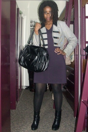 Express dress - Secondhand jacket - H&amp;M purse